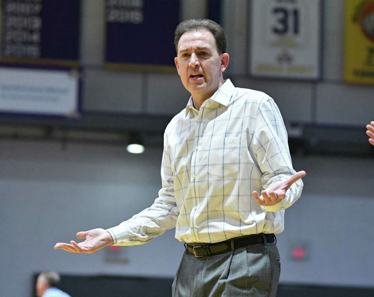 University at Albany head coach Will Brown reacts to a call during a basketball game against New Hampshire at SEFCU Arena on Wednesday, Feb. 27, 2019 in Albany. (Lori Van Buren/Times Union)