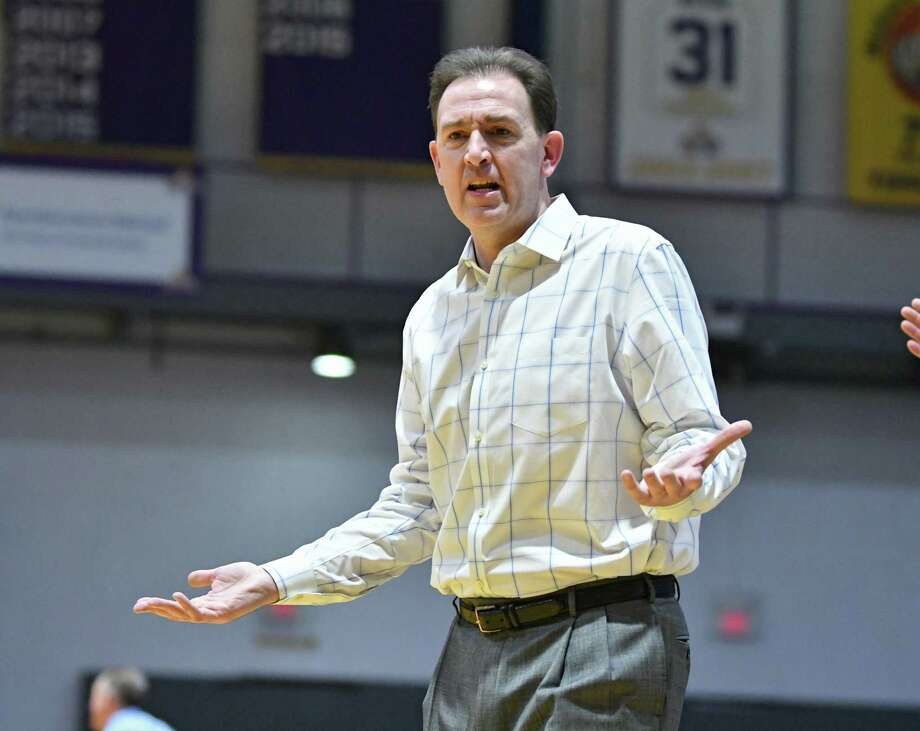 University at Albany head coach Will Brown reacts to a call during a basketball game against New Hampshire at SEFCU Arena on Wednesday, Feb. 27, 2019 in Albany. (Lori Van Buren/Times Union) / 20045816A