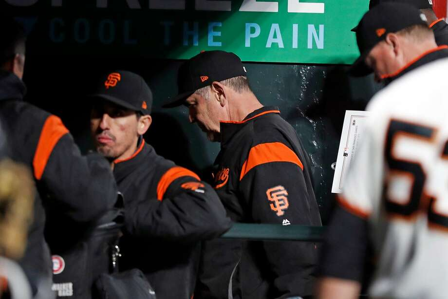 Giants manager Bruce Bochy heads to the clubhouse after a 3-2 loss to the Arizona Diamondbacks at Oracle Park on Tuesday. Photo: Scott Strazzante / The Chronicle