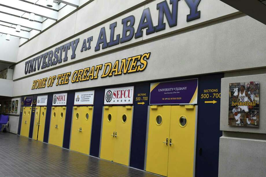 UAlbany athletic director Mark Benson said he wants to make improvements to SEFCU Arena, built in 1992, though he declined to comment further. (Lori Van Buren / Times Union) , / 20039605A
