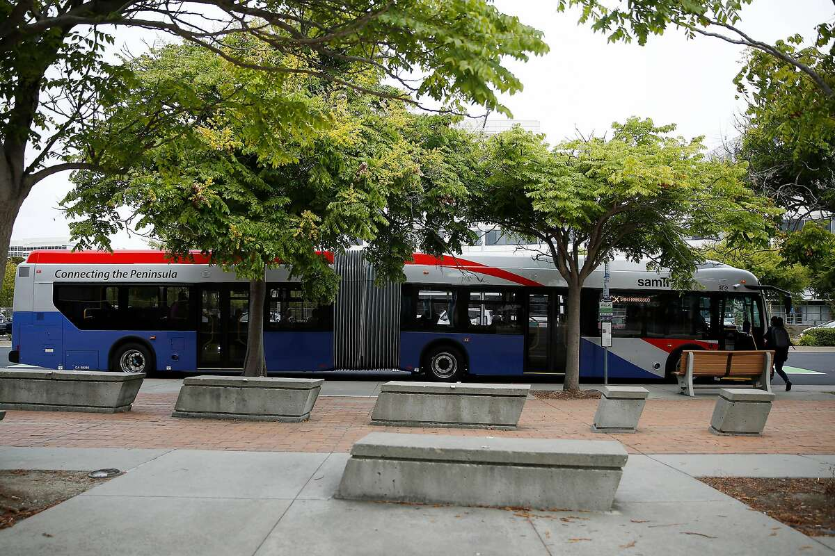 A SamTrans' Foster City Commuter Express bus departs from a stop on E. Hillsdale Blvd. on Wednesday, August, 28, 2019 in Foster City, CA.