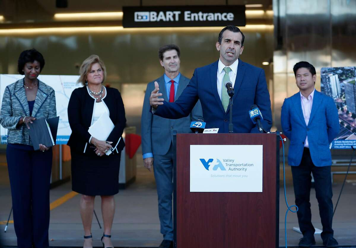 Sam Liccardo, mayor of San Jose, speaks during a press conference announcement that the funding for Phase 2 has been secured to continue the BART line from its current terminus at Berryessa Road and Marbury Road into downtown. At the Berryessa Transit Center San Jose, California on August 28, 2019.