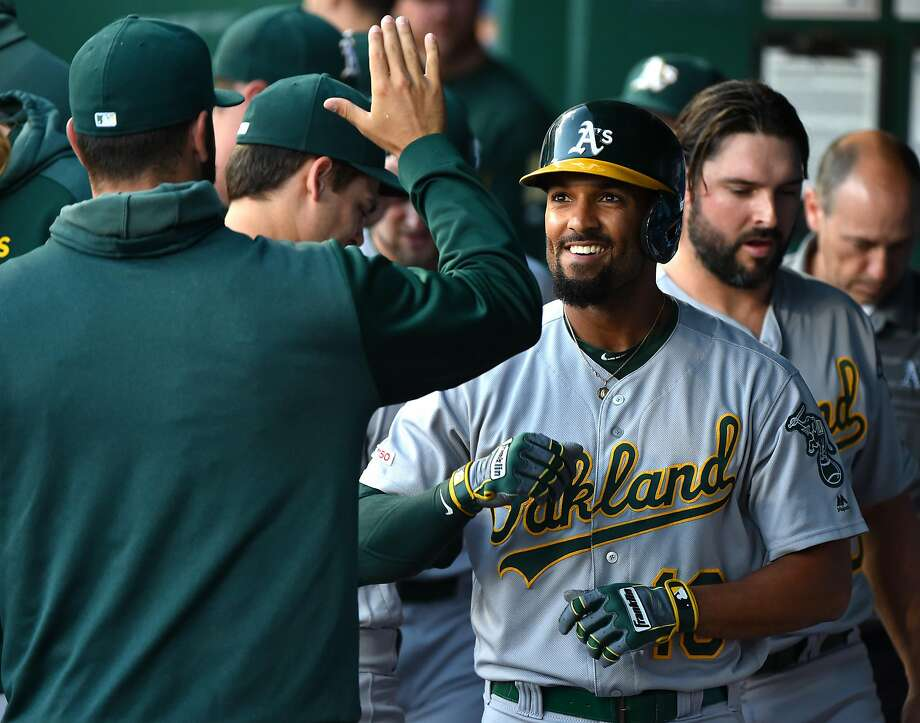 Marcus Semien is reportedly interested in signing an extension with the A's. (Photo by Ed Zurga/Getty Images) Photo: Ed Zurga, Getty Images