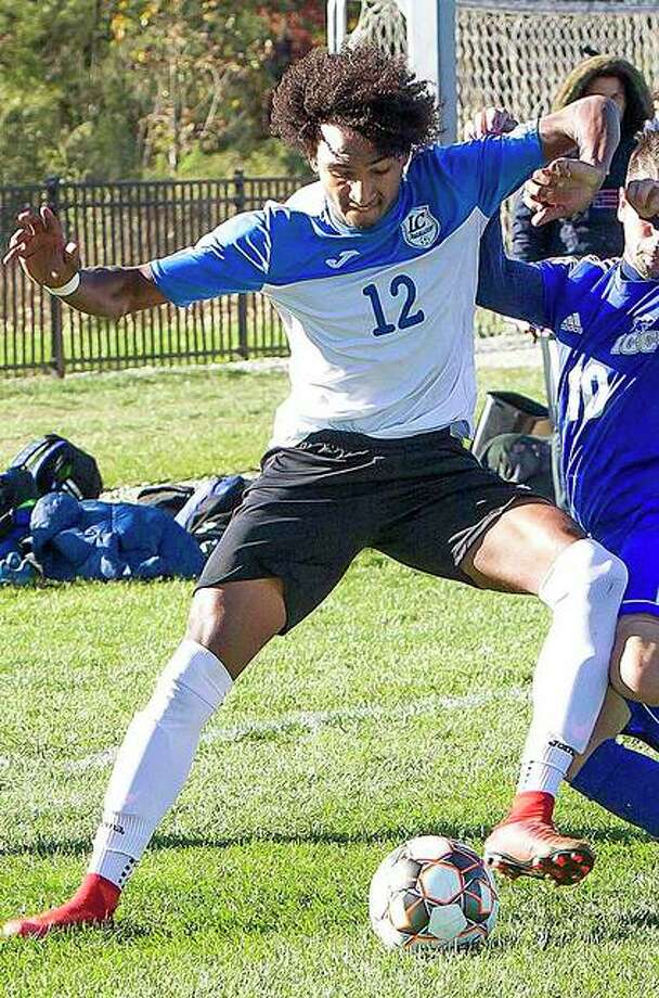 Reshaun Walkes scored three goals and led LCCC to a 5-3 victory over Jefferson College Wednesday in Hillsboro, Mo. Photo: Pete Hayes | The Telegraph