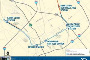A detail of the four stations planned for Phase II of BART's expansion into the San Jose and Santa Clara.