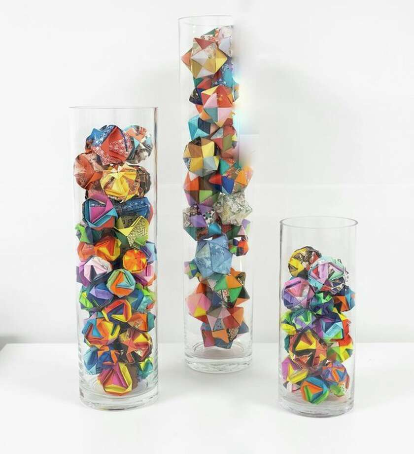 Mark DeWolf-Off'sWrapping papers, & Glass Floral Vases. (Photo provided/Saginaw Art Museum)
