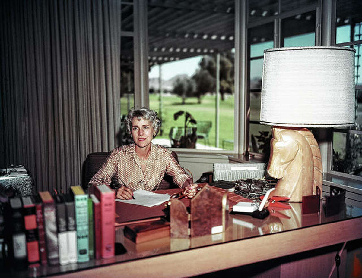 Author, legislator and diplomat Clare Boothe Luce sits in March 1959 in her home office in Phoenix, Arizona. Luce served in the U.S. House of Representatives in the 1940s and served as U.S. ambassador to Brazil and Italy.