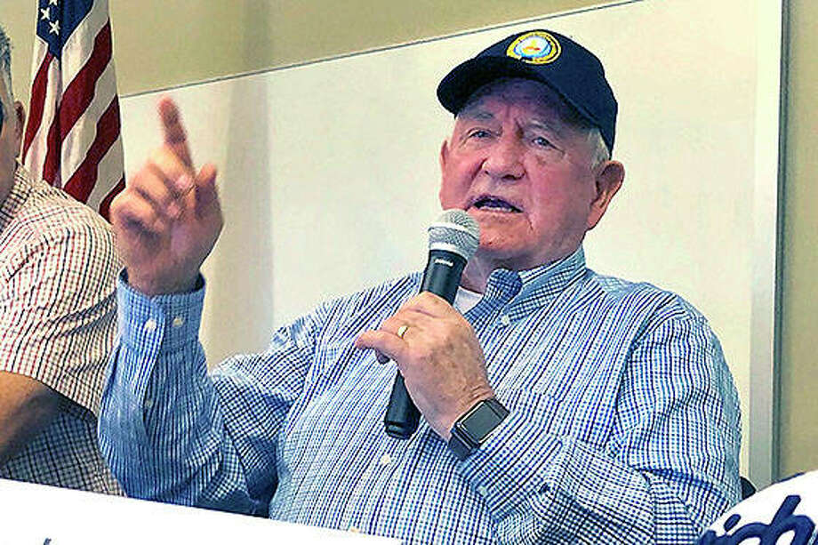 U.S. Agriculture Secretary Sonny Perdue speaks at an Ag Policy Summit during a visit Wednesday to Decatur. Perdue has sought to ease farmers' fears of financial problems after China halted purchases of U.S. farm products in an escalating trade war. Photo: John O'Connor | AP