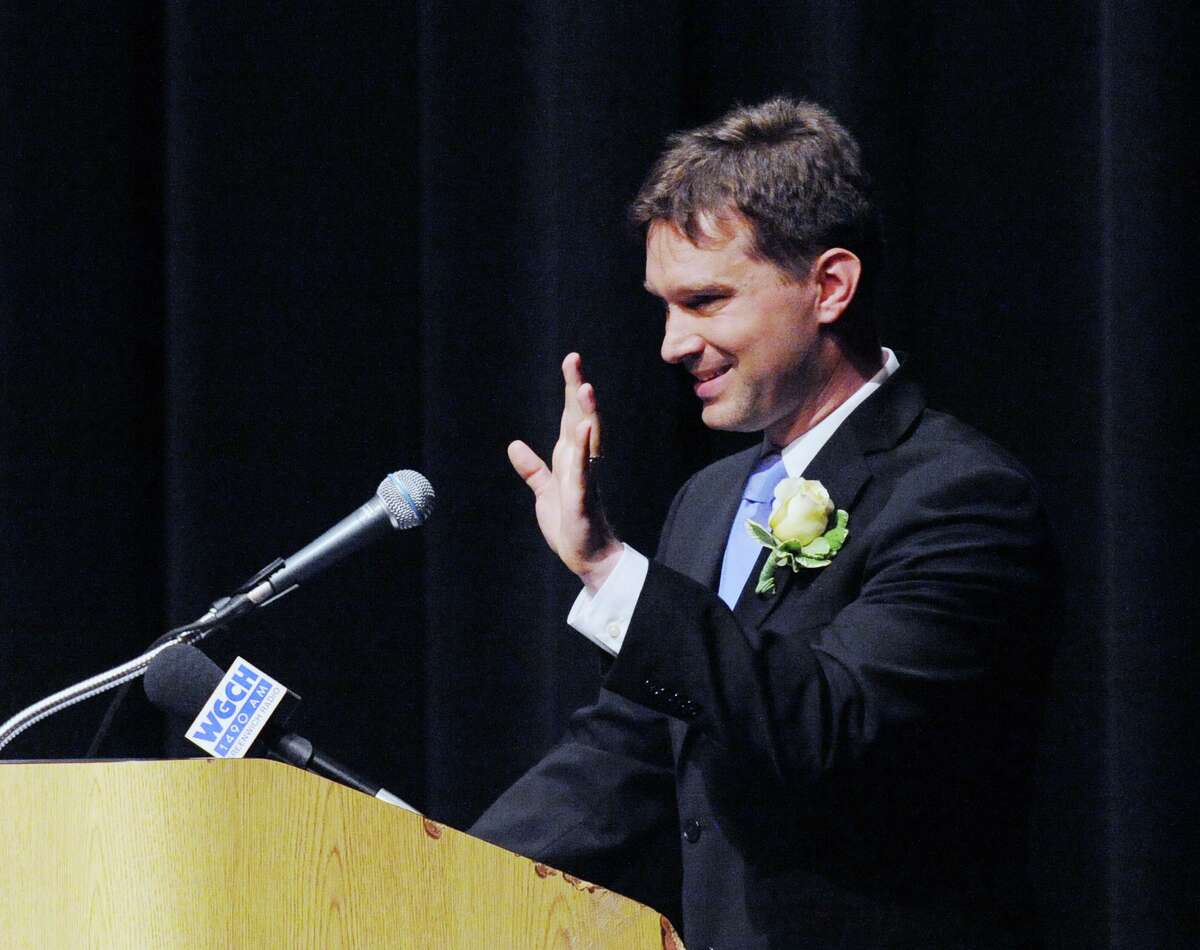 Ian Tiedemann, a Greenwich High School Social Studies teacher, was one of six teachers honored during the Greenwich Public Schools Distinguished Teachers Awards Ceremony at the Greenwich High School Performing Arts Center, Conn., Tuesday, May 3, 2016.