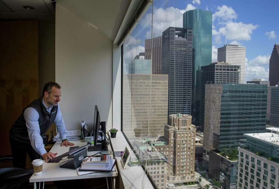 Sourcewater CEO Josh Adler looks at satellite imagery at the company's office in downtown Houston, Tuesday, Aug. 13, 2019.Between 2019 and 2023, the most successful very large U.S. metro economies are projected to be San Francisco, Dallas and Houston. Photo: Mark Mulligan, Houston Chronicle / Staff Photographer / © 2019 Mark Mulligan / Houston Chronicle