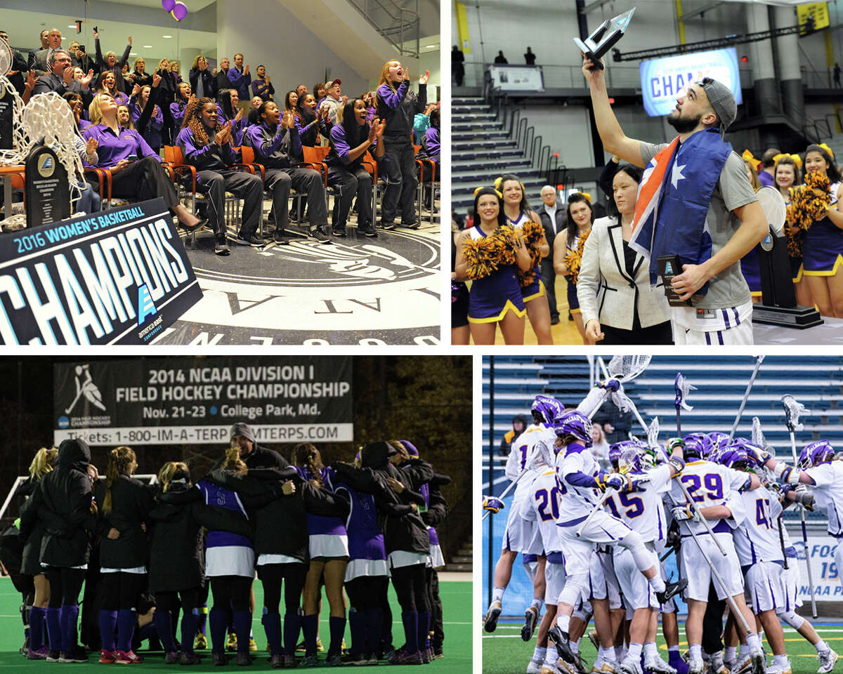 UAlbany's men's lacrosse and field hockey teams have both reached the national semifinals. The men's basketball program has gone to five NCAA tournaments, while the women made six straight appearances from 2012 to 2017. Clockwise from top: The UAlbany women's basketball team reacts to the announcement that they will be taking on Florida in Syracuse during an NCAA tournament selection on March 14, 2016. The team upset Florida in the first round. UAlbany's Peter Hooley holds up the trophy for Most Outstanding Player after the Danes won 51-50 on Hooley's buzzer-beater over Stony Brook during their America East Championship game on March 13, 2015, at UAlbany. The men's lacrosse team celebrates an NCAA win over Denver to advance to the Final Four, National Championship weekend on May 19, 2018. And on Nov. 21, 2014, The UAlbany field hockey team plays in its first Final Four, losing to third-ranked Connecticut 1-0 in an NCAA semifinal in College Park, Md. (Times Union archives / UAlbany Athletics field hockey photo by Brian Schneider)
