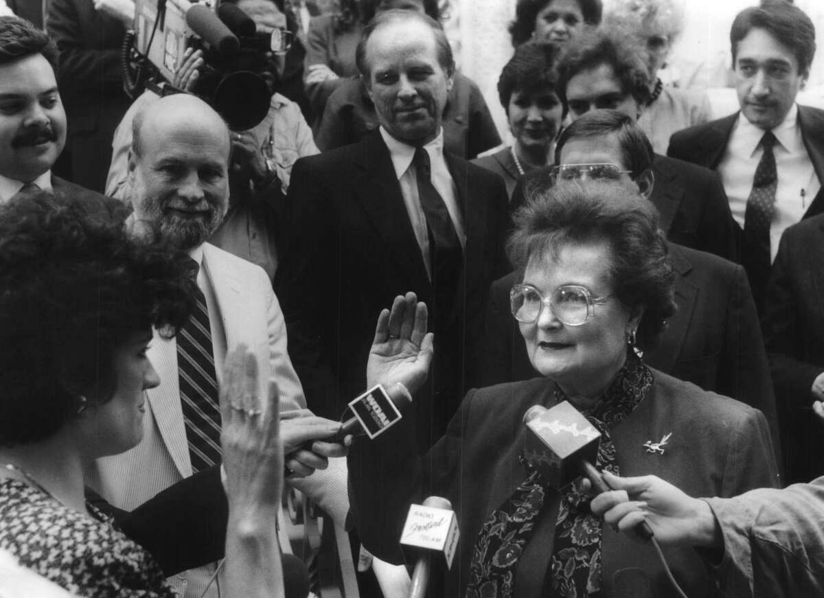 Lila Cockrell was sworn in as mayor on the steps of City Hall.