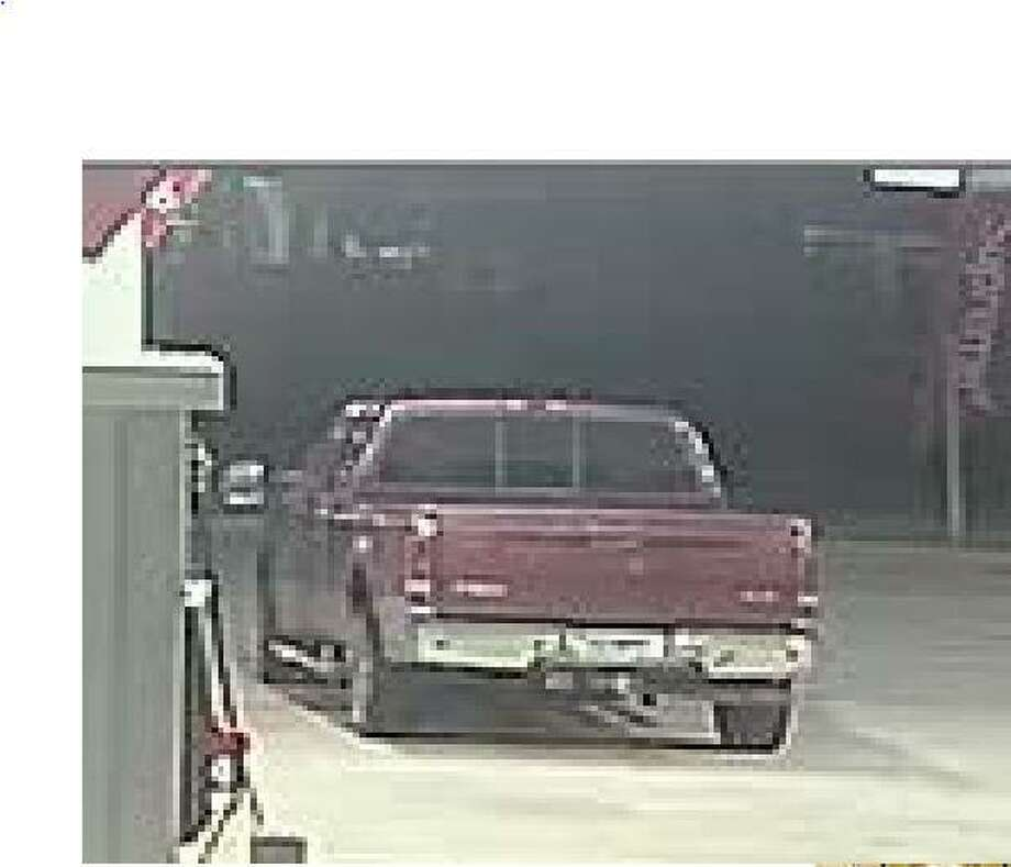 A vehicle used by a man who allegedly stole a debit card is seen on surveillance footage at one of the locations authorities say he made illegal purchases. Photo: Courtesy Of The Montgomery County Sheriff's Office