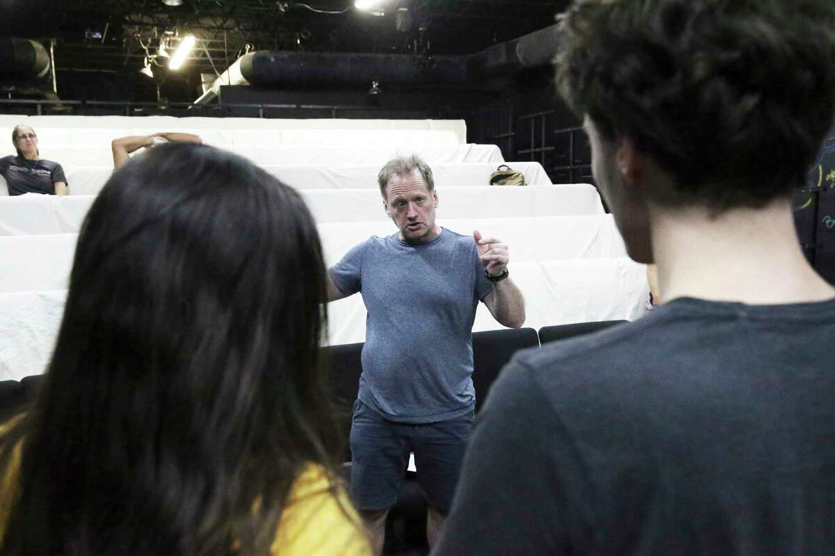 Joe Goscinski directs the actors in the rehearsal for Classic Theatre's staging of