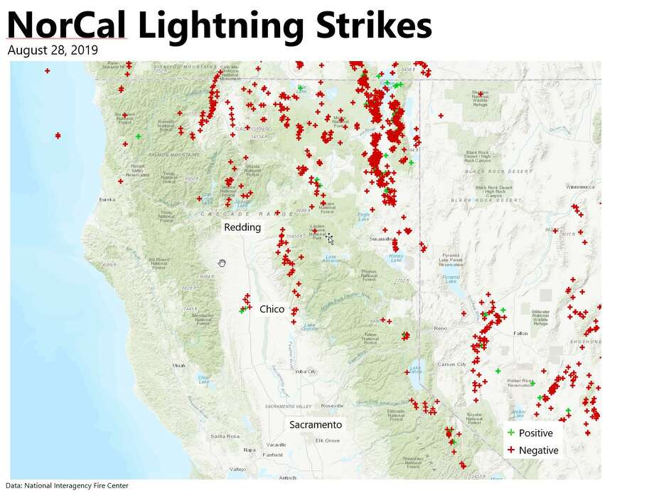 Thousands of lightning strikes were recorded around Northern California on Wednesday as residual moisture from a tropical storm was swept into the region. The National Weather Service office in Sacramento released a map showing where the strikes hit. Photo: National Weather Service