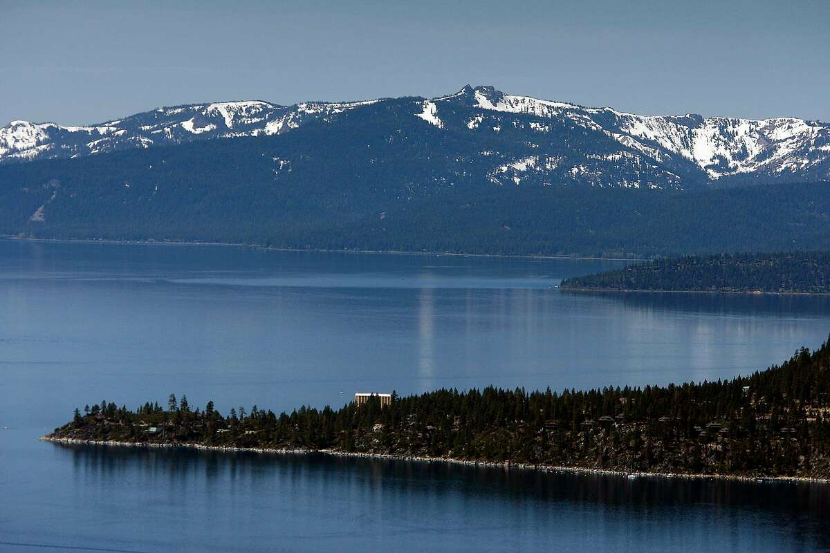 A view of snow-capped mountains, Lake Tahoe, and the historic Cal Neva Resort, Spa and Casino, located on the peninsula of north Lake Tahoe, as seen in May 2009. (Allen J. Schaben/Los Angeles Times/TNS)