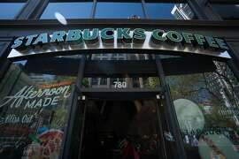 A Starbucks coffee shop on Market Street in San Francisco. Starbucks recently announced it would stop carrying newspapers in all of its 8,600 U.S. stores.