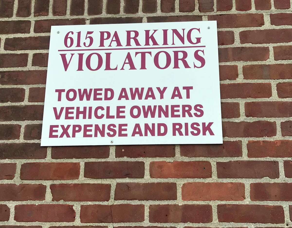 A reminder to drivers who park at 615 Riverside Avenue in Westport.