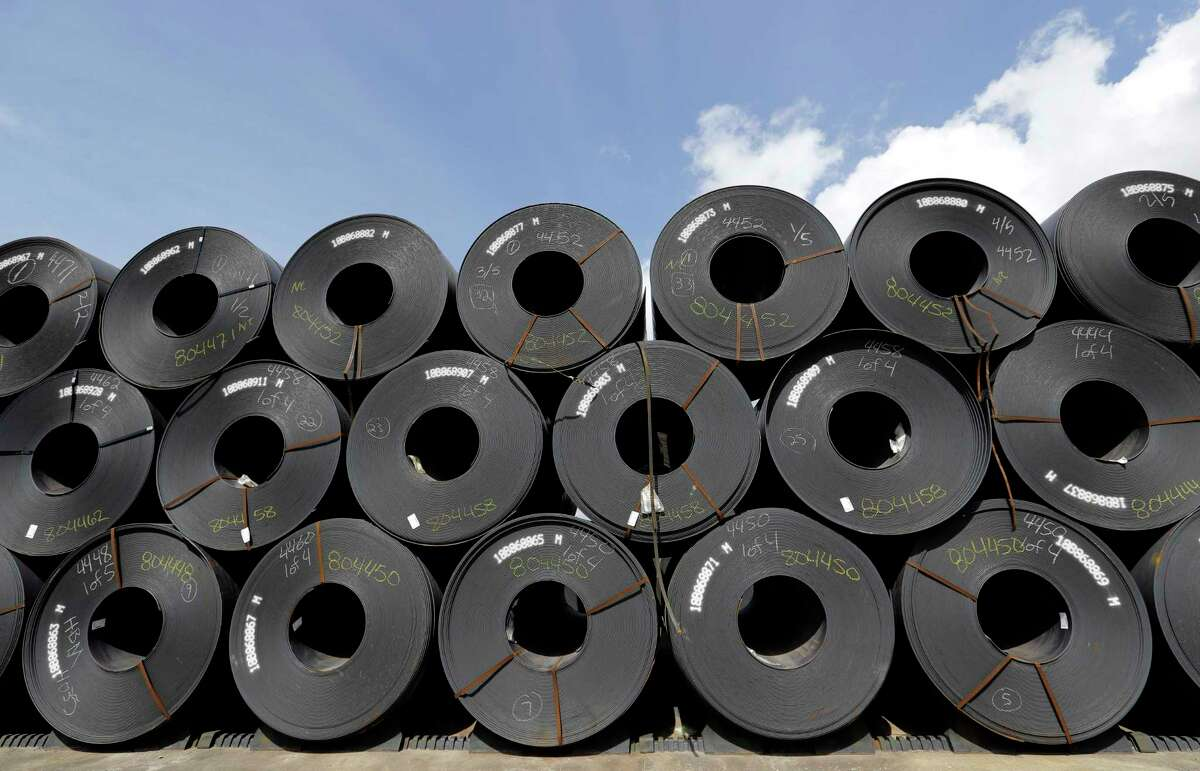 Rolls of steel are shown in Baytown, Texas.