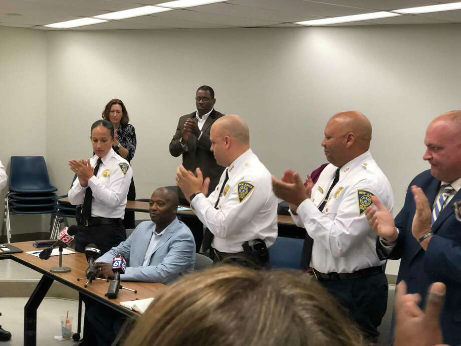 New Haven police Capt. Anthony Duff offered his first public remarks Thursday after being wounded while attempting to intervene in a fatal shooting August 12. Photo: Ben Lambert / Hearst Connecticut Media
