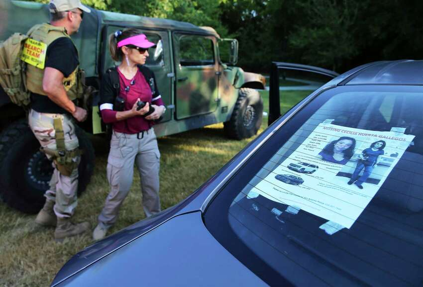 A notice is posted on the back of a car for a missing woman, Cecilia Huerta Gallegos, as husband and wife searchers Eric and Anna Herr get ready to join Search & Support San Antonio to look for her on July 27, 2019. Gallegos, 30, was last seen in the 5600 block of Southwick Street on July 8. About a dozen searchers, including Gallegos' sister, Mireya Lopez of Houston, went to six locations to look for her.