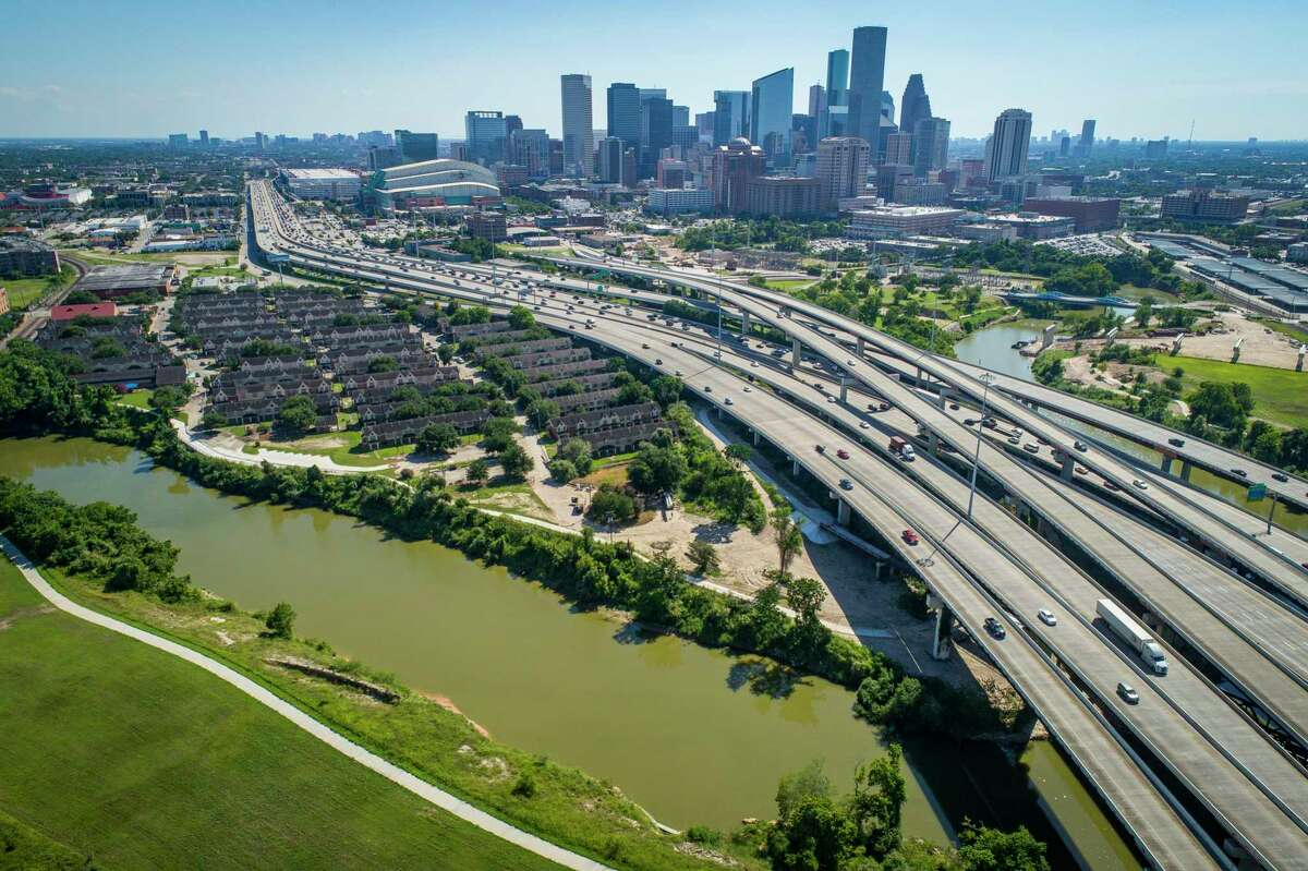 Interstate 69 crosses Buffalo Bayou northeast of downtown next to the Clayton Homes, a Houston Housing Authority complex in Houston, seen on June 12, 2019.