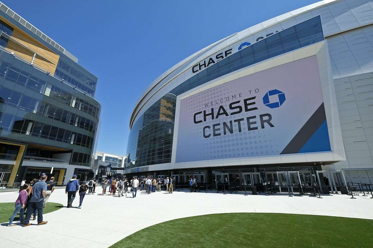 In this photo taken Monday, Aug. 26, 2019, is an exterior view of the Chase Center in San Francisco. The Chase Center is the new home of the Golden State Warriors NBA basketball team. (AP Photo/Eric Risberg)