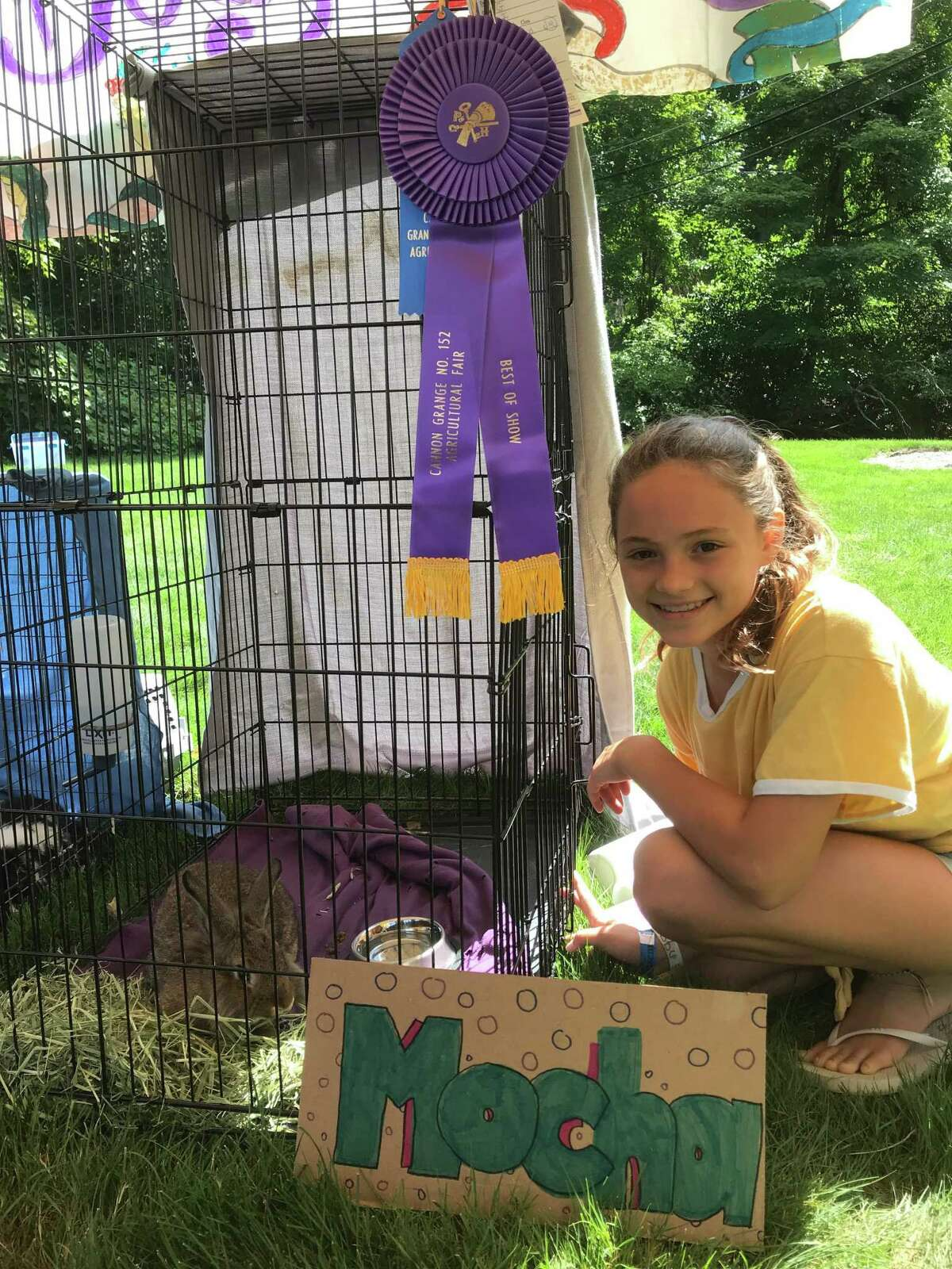 """Abby Jones, 12, of Wilton, was proud to see her bunny, Mocha, win a """"Best in Show"""" ribbon at the Cannon Grange's 87th annual agricultural fair and exposition on Sunday, Aug. 25."""