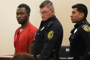 Andre Sean McDonald, left, who remains in the Bexar County Jail after being accused of killing his wife, Andreen Nicole McDonald, 29, appeared in court Thursday for a pre-trial hearing. McDonald, who is a major and a cyberwarfare operations officer in the U.S. Air Force Reserve, is charged with murder and tampering with evidence.