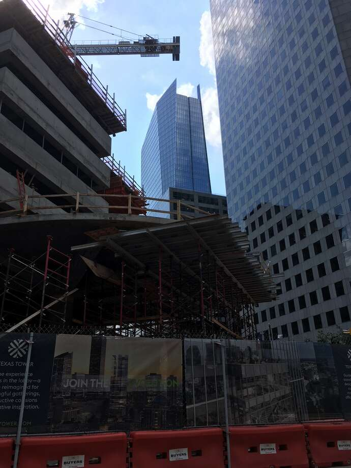 The Texas Tower office building is under construction in downtown Houston on Texas Avenue between Travis and Milam. Photo: Katherine Feser / Houston Chronicle