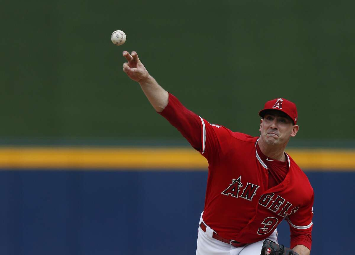 Los Angeles Angels' Matt Harvey pitches during the first inning of a baseball game against the Houston Astros, in Monterrey, Mexico, Sunday, May 5, 2019. (AP Photo/Rebecca Blackwell)