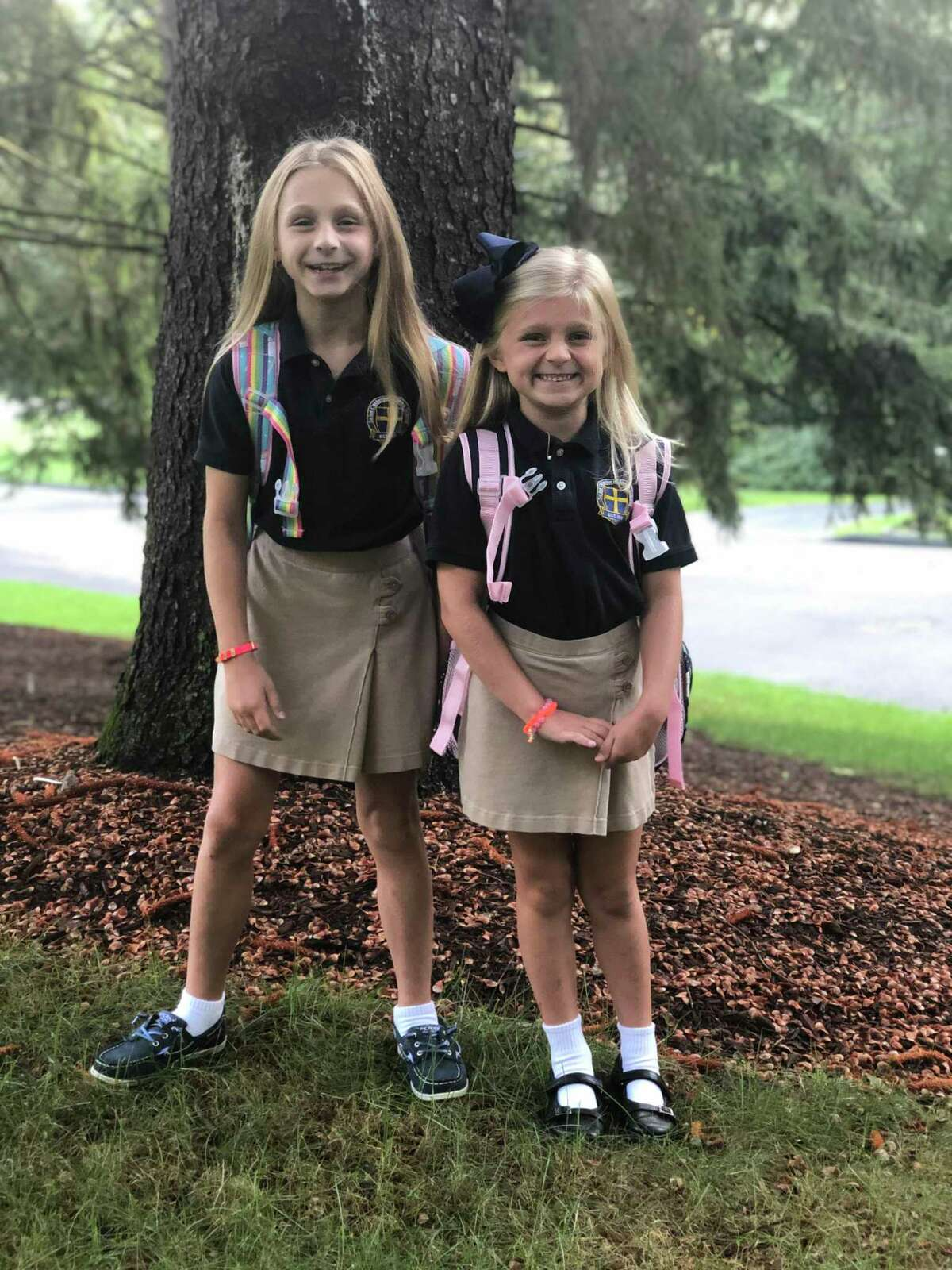 Victoria (grade 3) and Julia Dobrydney (grade 1) on the first day of the 2019-20 school year at St. Catherine of Siena.