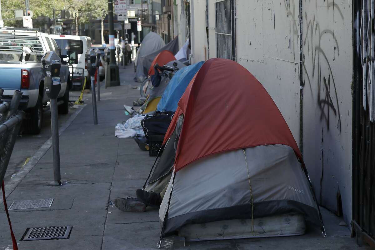 Homeless tents are shown along a street in San Francisco, Wednesday, Aug. 21, 2019. (AP Photo/Jeff Chiu)