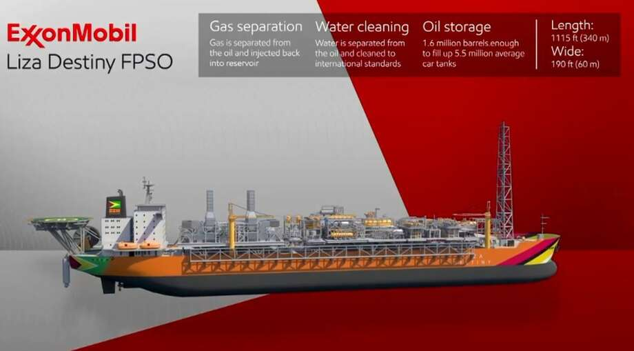 The Liza Destiny is the first oil production vessel, called an FPSO for floating, production, storage and offloading vessel, to arrive off the coast of Guyana. The vessel will begin producing oil from the deepwater wells in early 2020. Photo: Exxon Mobil