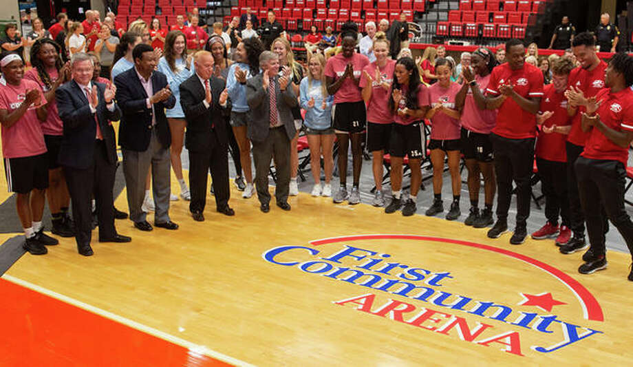 SIUE celebrates the naming of the gymnasium to the First Community Arena at the Vadalabene Center. Photo: SIUE