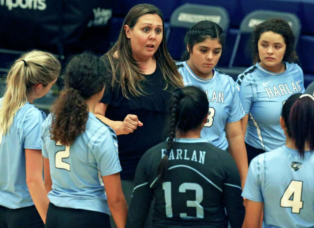 Monica Gonzales coaches the Hawks as Harlan plays O'Connor at Taylor Field House on August 120, 2019.