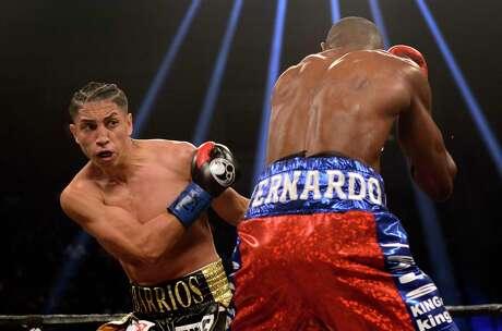 Mario Barrios, left, battles Eudy Bernardo in one of four fights he's had in San Antonio at Freeman Coliseum on March 10, 2018.