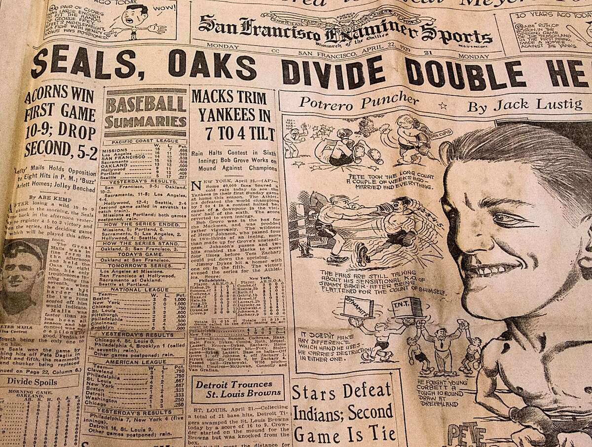 This newspaper from 1929 showed a box score with Babe Ruth and Lou Gehrig, found in a time-capsule like box in a wall during the renovation of Point Reyes Lighthouse
