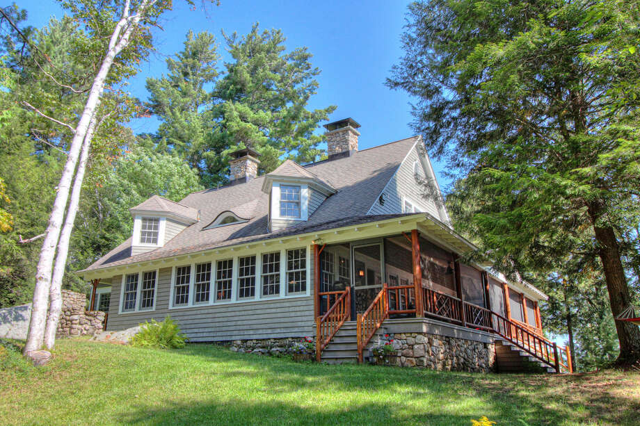 Panther Point on Upper Saranac Lake will be sold at auction Aug. 30, 2019. Photo: Platinum Luxury Auctions