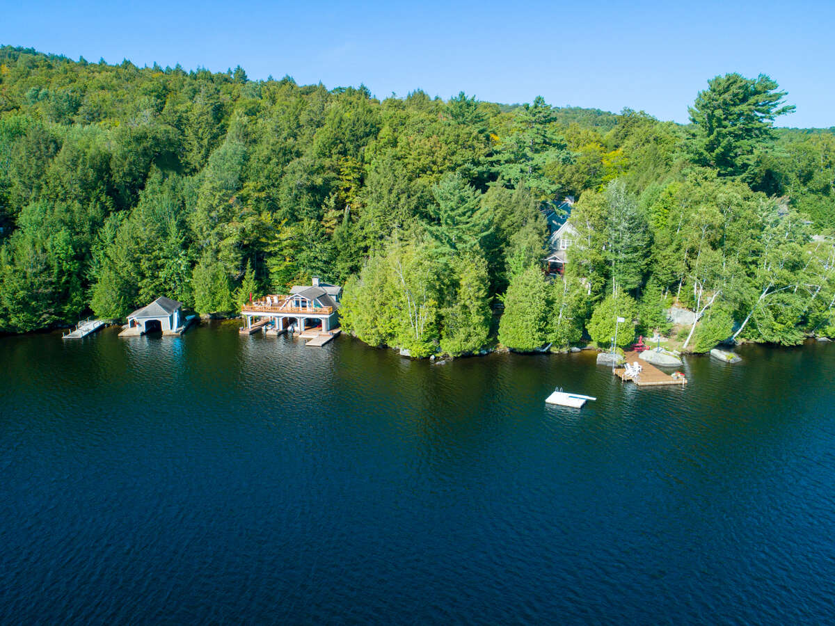 An aerial view of Panther Point on Upper Saranac Lake, scheduled to be sold at auction Aug. 30, 2019.