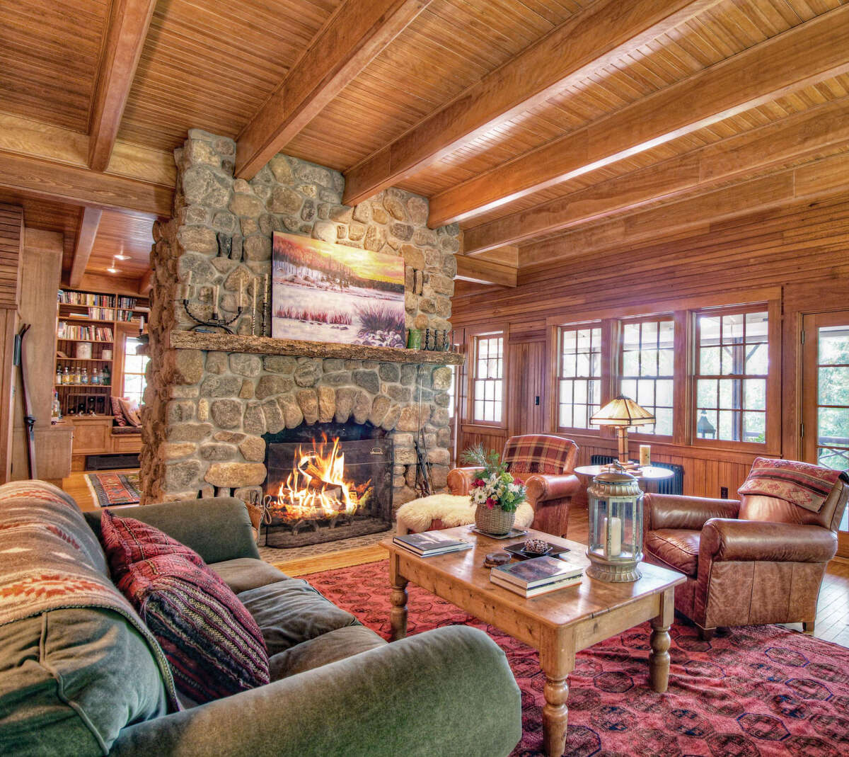 Great room at Panther Point on Upper Saranac Lake.