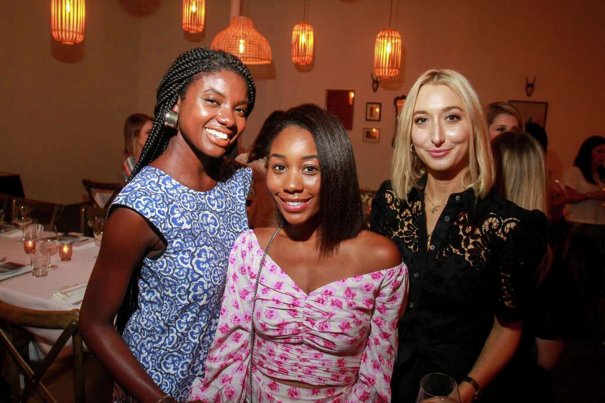 Brandy Gueary, from left, Shay Moné and Chiara Casiraghi at dinner at Indianola, where former denim designers Emily Current and Meritt Elliott unveiled their new collection for Pottery Barn. August 23, 2019.