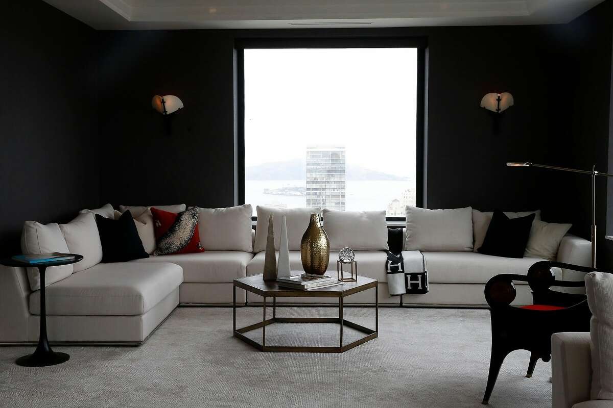 A sitting area and view are seen in the living room of a penthouse in the Clay Jones building on Monday, August 19, 2019 in San Francisco, CA.