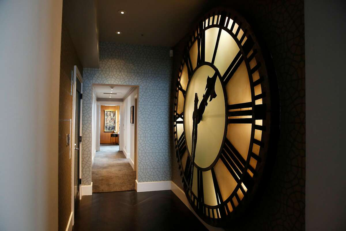 A giant clock face decorates the entry in a penthouse at the Clay Jones building on Monday, August 19, 2019 in San Francisco, CA.