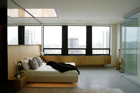 The master bedroom in a two-story penthouse at the Ritz-Carlton Club and Residences. Photo: Lea Suzuki / The Chronicle