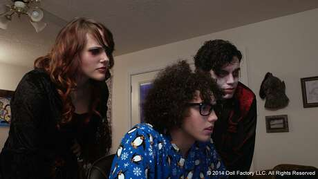 "Nicole Elliott,Justin Herman, andAndy Palmerin the Houston horror film ""Doll Factory"""