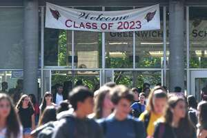 Students are dismissed on the first day of school at Greenwich High School in Greenwich, Conn. Thursday, Aug. 29, 2019.