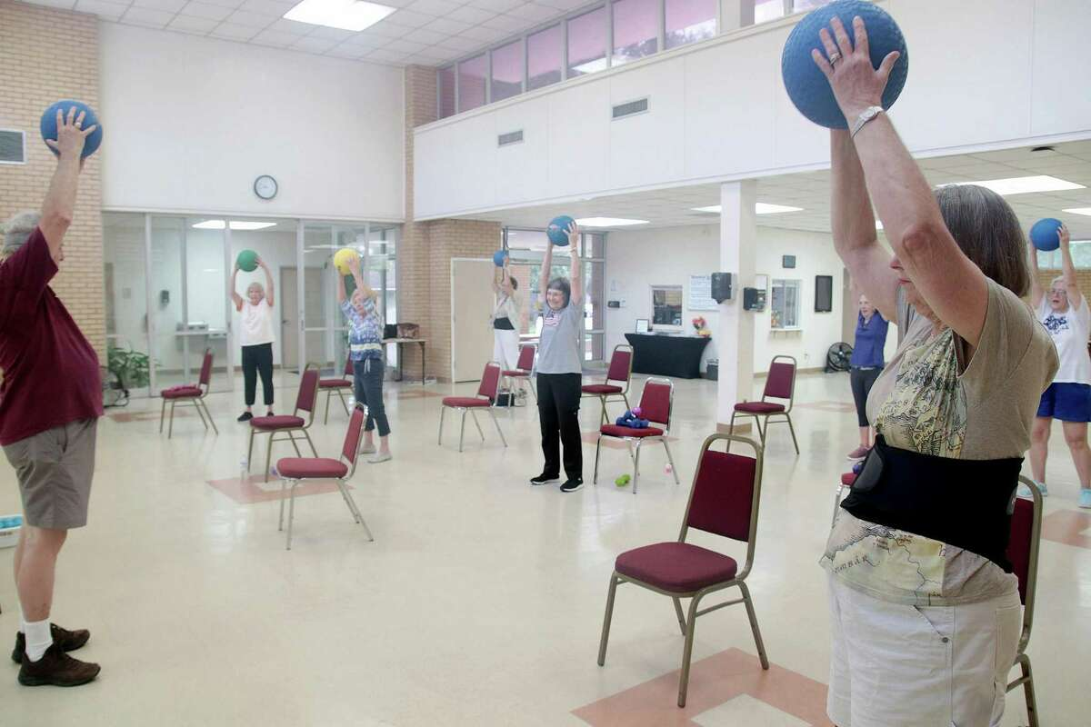 Senior adults participate in an exercise session at the Friendswood Activity Center. City officials say the 49-year-old, 8,000-square-foot center at 416 Morningside Drive is too small to meet needs. It hosts adult exercise classes, dance sessions and trivia and card games and includes a weight room. A bond package on the November ballot includes a $9 million bond proposition to design and construct a new facility.