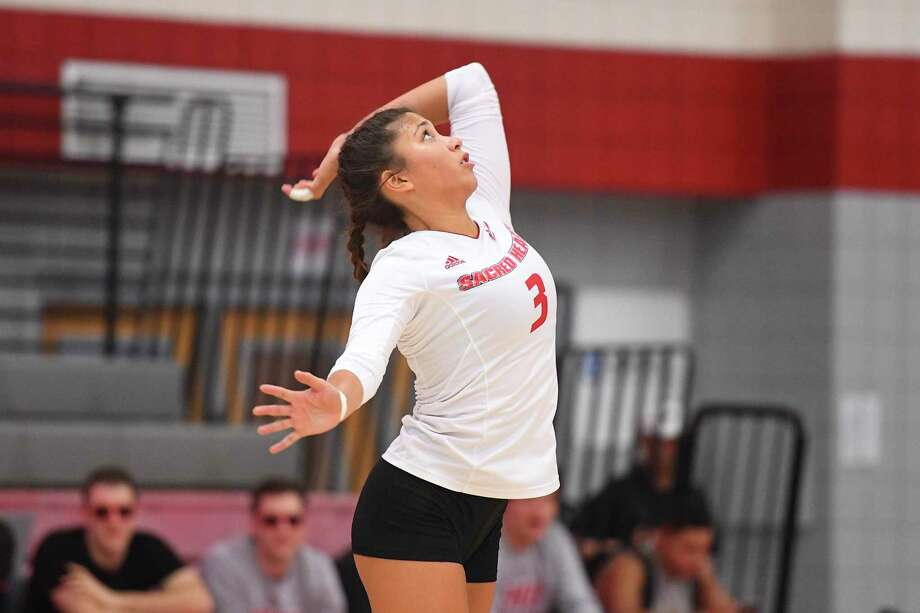 Sarah Ciszek was named MVP of Northeast Conference volleyball tournament to lead Pioneers into NCAA tournament. Photo: Sacred Heart Athletics / Contributed Photo