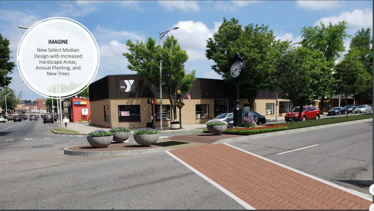 An image of the new crosswalks and median plantings planned for downtown Danbury.